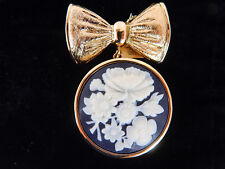 Estee Lauder Youth Dew Solid Perfume Collectible, Cameo Brooch Pin W/Bow and Tag