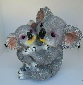 AUSTRALIAN KOALA WITH BABY ANIMAL GARDEN STATUE ORNAMENT FIGURINE GIFT
