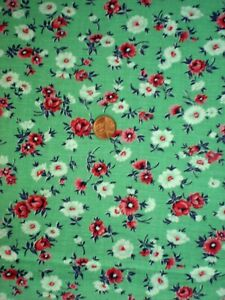 FLORAL Full FEEDSACK Quilt Sewing Doll Clothes Craft Fabric Green Red Navy