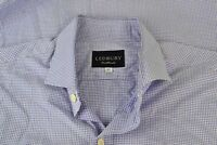 Ledbury Blue White Small Gingham Cotton Spread Collar Dress Shirt Sz 16 1/2