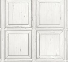 Luxury Wallpaper Rasch - Wooden Panel Cladding Distressed Paint - White - 214505