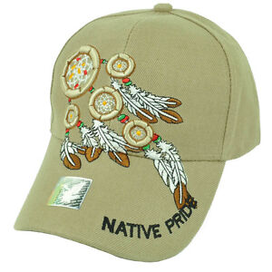 Native American Indian Pride Dream Catcher Khaki Hat Cap Feathers Adjustable