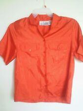Christie & Jill Women's Hot Orange Button Down Top Shirt Blouse Sz 8