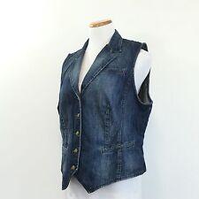 CHAPS Women's Fitted Denim Vest Button Front Adjustable Back 100% Cotton Size XL