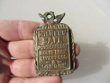 Victorian Brass Safe Keyhole Cover Escutcheon Plate Antique Lock Old Milner Bird