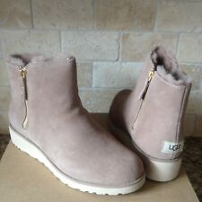 UGG SHALA FAWN SUEDE SHEEPSKIN WEDGE ZIP ANKLE BOOTS SIZE US 12 WOMENS 1018653
