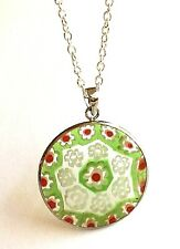 "Silver Murano Glass Necklace Venetian Millefiori Vintage Style 24"" X-Long Plated"