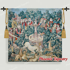 """LARGE Hunt of the Unicorn Medieval Tapestry Wall Hanging Cotton 100% 55""""x54"""", UK"""