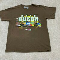 NASCAR Short Sleeve T-Shirt Men's Size Large Brown Kyle Busch