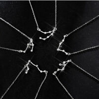 925 Silver Zodiac Constellation Necklace Crystal Horoscope Astrology w/ Gift Box