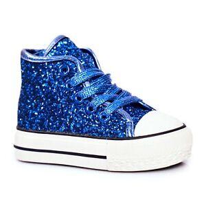 FRROCK Children's Sneakers High Shiny Blue Ally
