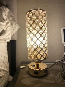 2 Crystal Table Lamp Touch Control, Bedrooms Nightstand Lamps 2 USB Charging