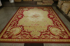 6'X9' Antique Dark Red French Gold Swirls Pink Subtle Rose Handmade Aubusson Rug