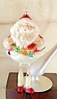 "Vintage Hand Blown Glass Christmas Ornament Santa Claus With Dangle Legs 7"""