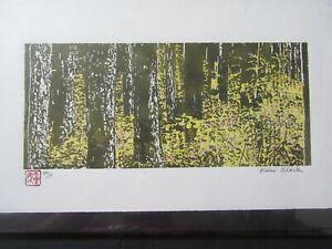 Trees Forest undergrowth woodcut woodblock print Japanese Washi signed original