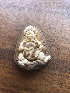 Vintage Antique stone God Snake  pendant  double sided