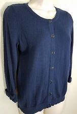 Elle Navy Blue V Neck Cardigan Button Front 3/4 Sleeve Pointelle Accents Sz S