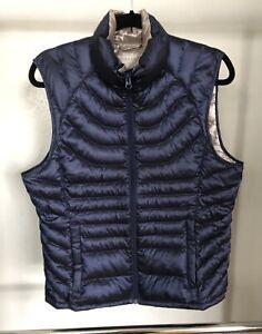 Bernardo Goose Down lightweight Warm Vest Blue Women's Size L Zipped Pockets