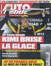 AUTO HEBDO n°1882 du 7 NOVEMBRE 2012 GP ABOU DHABI BILAN WEC 2012 ALEX ZANARDI