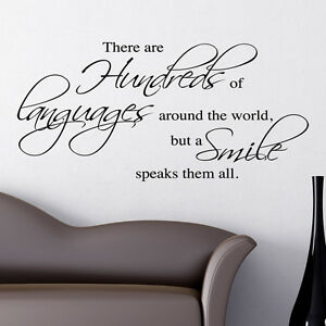 A SMILE SPEAKS THEM ALL WALL STICKER ART DECALS QUOTE