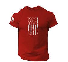 America Flag T-shirt Black Cotton Military Distressed USA Gym Top