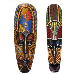 Thai Wooden Mask Wall Hanging Solid Wood Carving Painted Wall Decoration 50 x 11