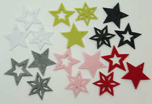 Abverkauf 6 Filz Sterne Streudeko Filzsterne Weihnachtsdeko Streuteile Filzdeko