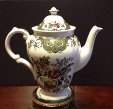 Rare Ridgway Staffordshire Windsor Coffee Pot Green Multi Color With Birds