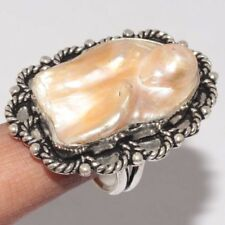 Q4184  Biwa Pearl & 925 Sterling Silver Plated Ring US 7 Jewelry