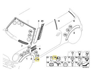 BMW MINI R50 R53 R52 EXTERIOR TRIM / GRILL CLIP 07137036160