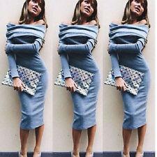 Women Winter Off Shoulder Long Sleeve Jumper Sweater Top Slim Bodycon Mini Dress