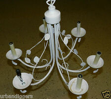 6058/ Vintage Tole White Shabby Chic Chandelier ~  Light Fixture  Hanging Lamp