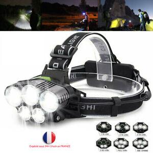 90000Lumens Lampe Frontale LED Lampe de poche Rechargeable Tournant USB Sport