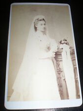 Cdv old photograph wedding bride by Ramsden at Leeds c1870s