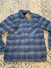 New Men's Patagonia Insulated Fjord Flannel Jacket Size Large Woolly Blue