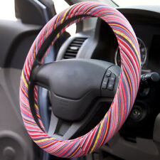 Baja Indian Saddle Blanket Car Steering Wheel Cover - Pink Stripes