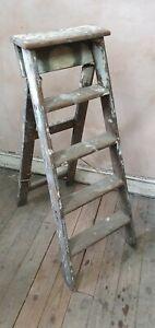 Vintage Wooden prop / display Lattice Step Ladder 4 steps solid - folding (4)