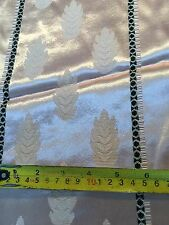 NEW VINTAGE FABRIC - BEIGE RAYON / ACETATE WITH LEAF PATTERN .7m x 116cm
