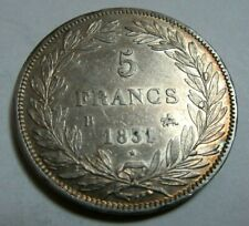 More details for  1831 silver 5 francs  king louis-philippe i france b mintmark good grade*
