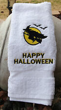 Personalized Embroidered Flying Witch Halloween Hand Towel 100% Cotton Lombs
