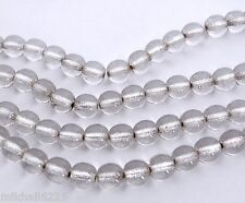 50 6mm Czech Glass Round Beads: Crystal - Silver Lined