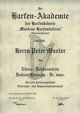 Ehren Doktorwürde Harfe Zupfinstrumente Musik Urkunde Diplom Ehrendoktor