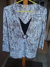 RAFAEL Pleat Pleat womens Size Large blue gray black white V neck stretch top
