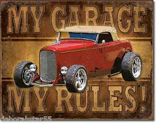 MY GARAGE MY RULES Tin Sign Hot Rod Garage Signs Vintage Metal Sign Large 1761