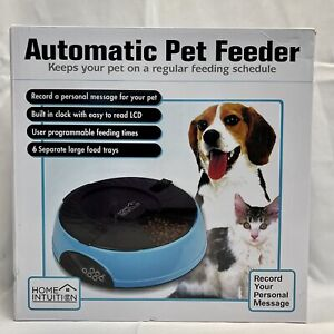 Home Intuition 6 Meal Automatic Pet Feeder w/ Programmable Timer, Light Blue