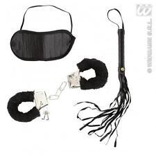 Adult Dominatrix Set Kit Mistress Handcuffs Blindfold & Whip Fancy Dress