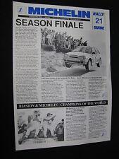 Flyer Michelin Rally Guide 21 Season Finale Lombard RAC Rally 1988