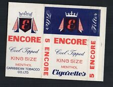 Old EMPTY cigarette packet Encore Caribbean size 5 Barbados   #814