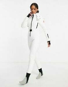 ASOS 4505 White Ski fitted belted ski suit with hood Size UK10/US6_UK12/US8