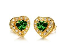 18K White Gold GP Crystal Gem Heart-shaped Lady Engagement Earrings Studs